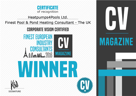HeatPumps4Pools wins finest pool heating consultant